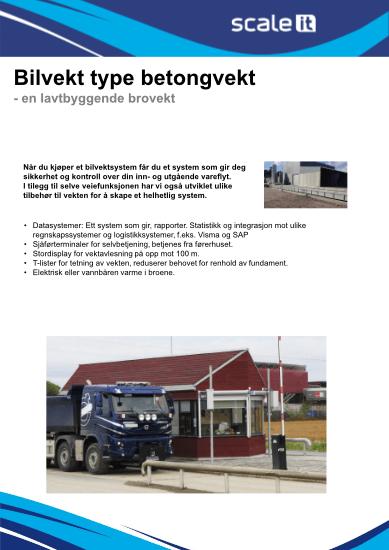 Funksjoner og spesifikasjoner for Bilvekt type betong